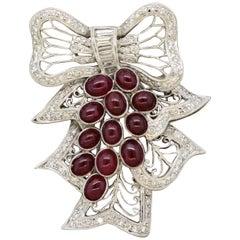 Diamond Ruby Gold Mistletoe Brooch