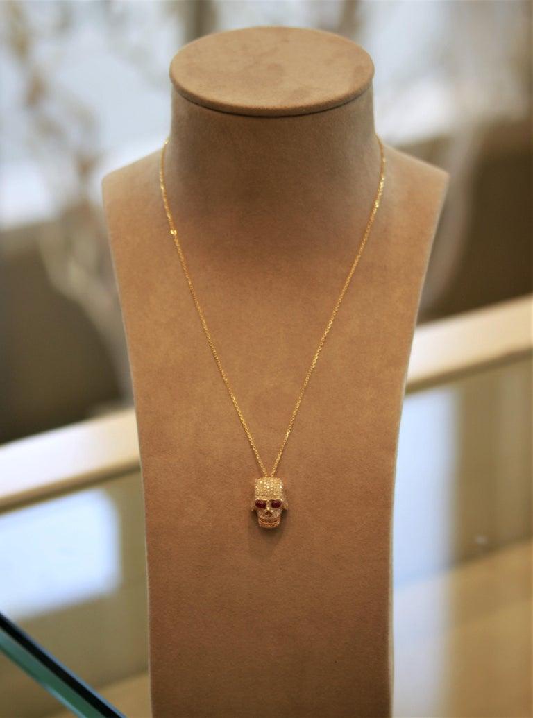 Women's or Men's Diamond Ruby Gold Skull Pendant Necklace For Sale