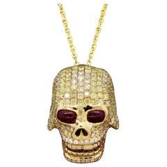Diamond Ruby Gold Skull Pendant Necklace
