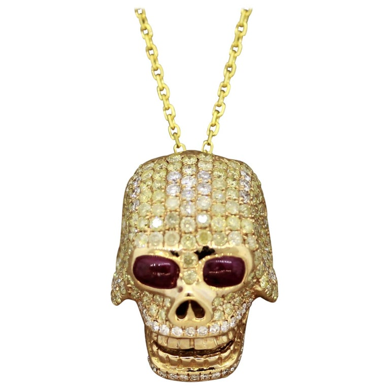 Diamond Ruby Gold Skull Pendant Necklace For Sale