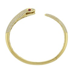 Diamond Ruby Gold Snake Cuff