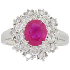 Diamond and Ruby Halo Ring