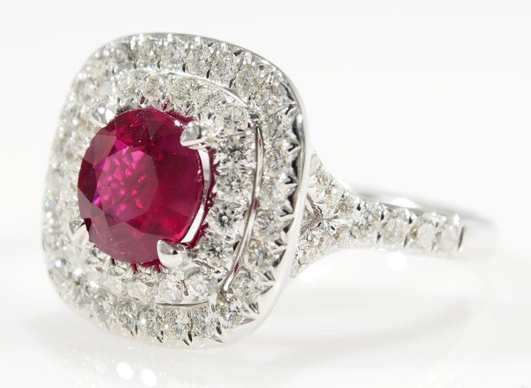 Modern Diamond Ruby Halo Ring White Gold 18 Karat For Sale