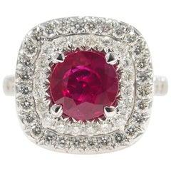 Diamond Ruby Halo Ring White Gold 18 Karat