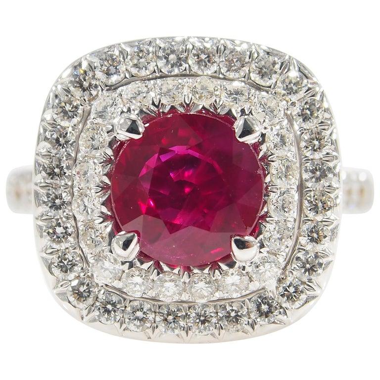Diamond Ruby Halo Ring White Gold 18 Karat For Sale