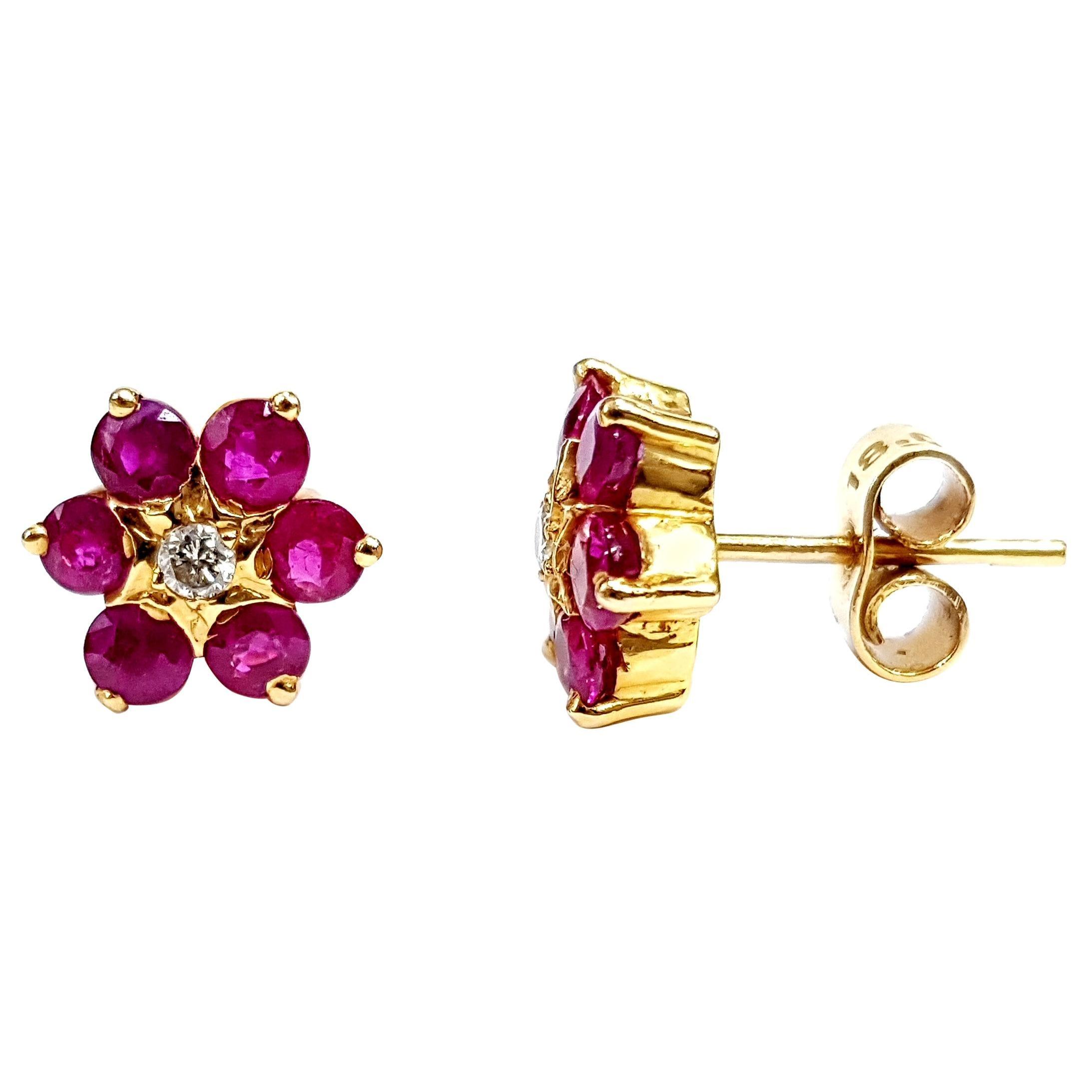 b357efb1f Diamond Ruby Handmade Daisy Flower 18 Karat Gold Cluster Artisan Stud  Earrings For Sale at 1stdibs