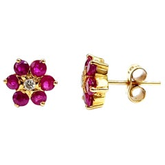Diamond Cluster Ruby Handmade Daisy Flower 18 Karat Gold Studs Artisan Earrings