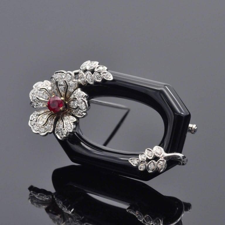 Round Cut Diamond Ruby Onyx Brooch For Sale