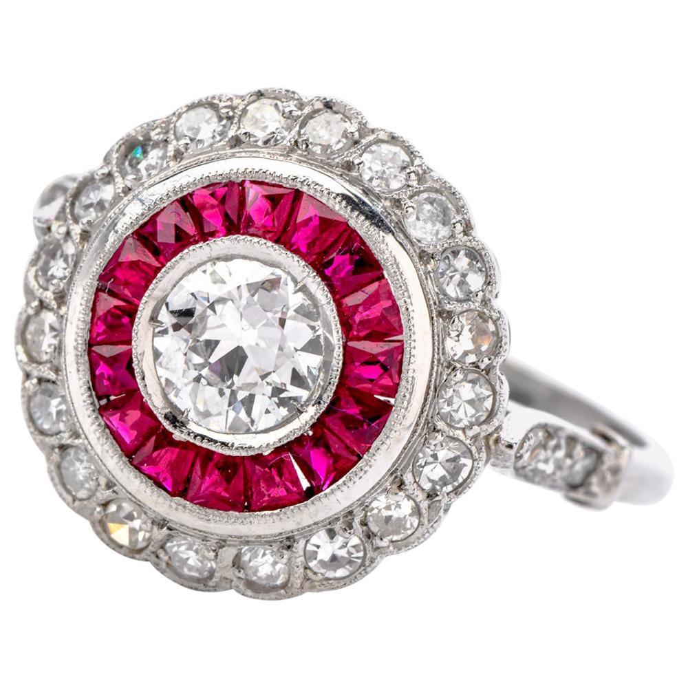 Diamond Ruby Platinum Cocktail Engagement Ring