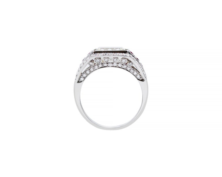 Emerald Cut Diamond Ruby Platinum Cocktail Ring For Sale