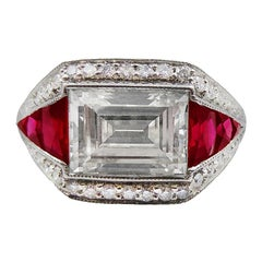 Diamond Ruby Platinum Cocktail Ring