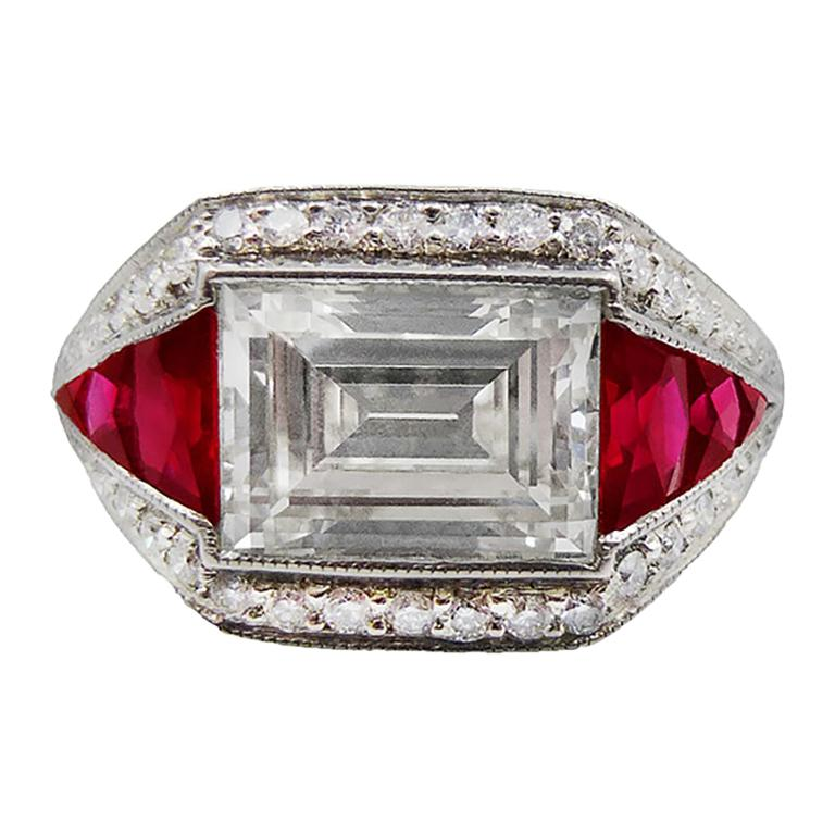 Diamond Ruby Platinum Cocktail Ring For Sale