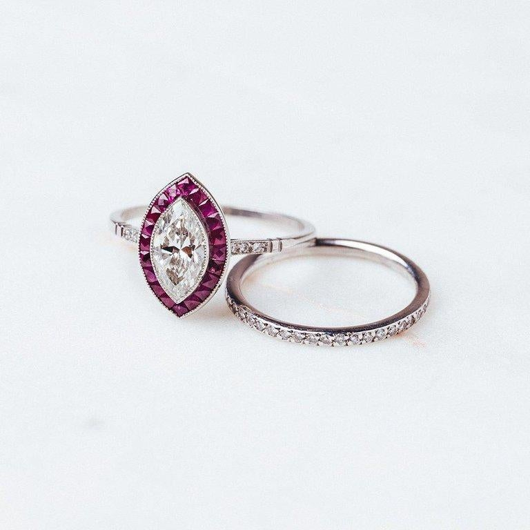 Ruby Engagement Rings For Sale: Diamond Ruby Platinum Engagement Ring For Sale At 1stdibs