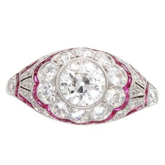 Diamond Ruby Platinum Engagement Ring