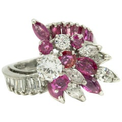 Diamond Ruby Platinum Starburst Comet Bypass Cluster Cocktail Ring