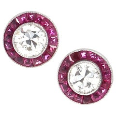 Diamond Ruby Platinum Stud Earrings