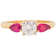 Diamond Ruby Ring, Engagement Ring, Three-Stone .62 Carat Diamonds and Marquise
