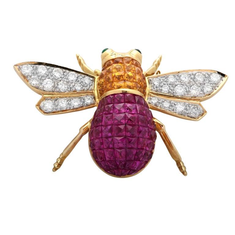 Modern Diamond, Ruby, Sapphire and Emerald 18 Karat Yellow Gold Bee Brooch Pin