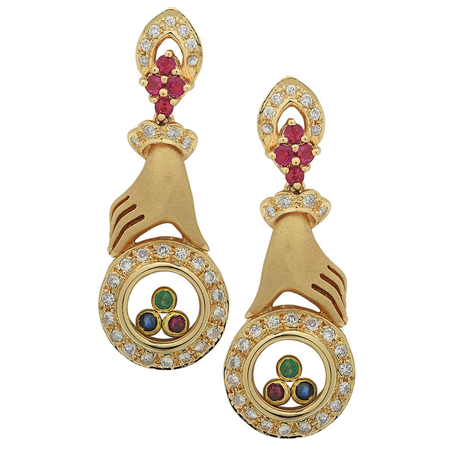 Diamond, Ruby, Sapphire and Emerald Earrings