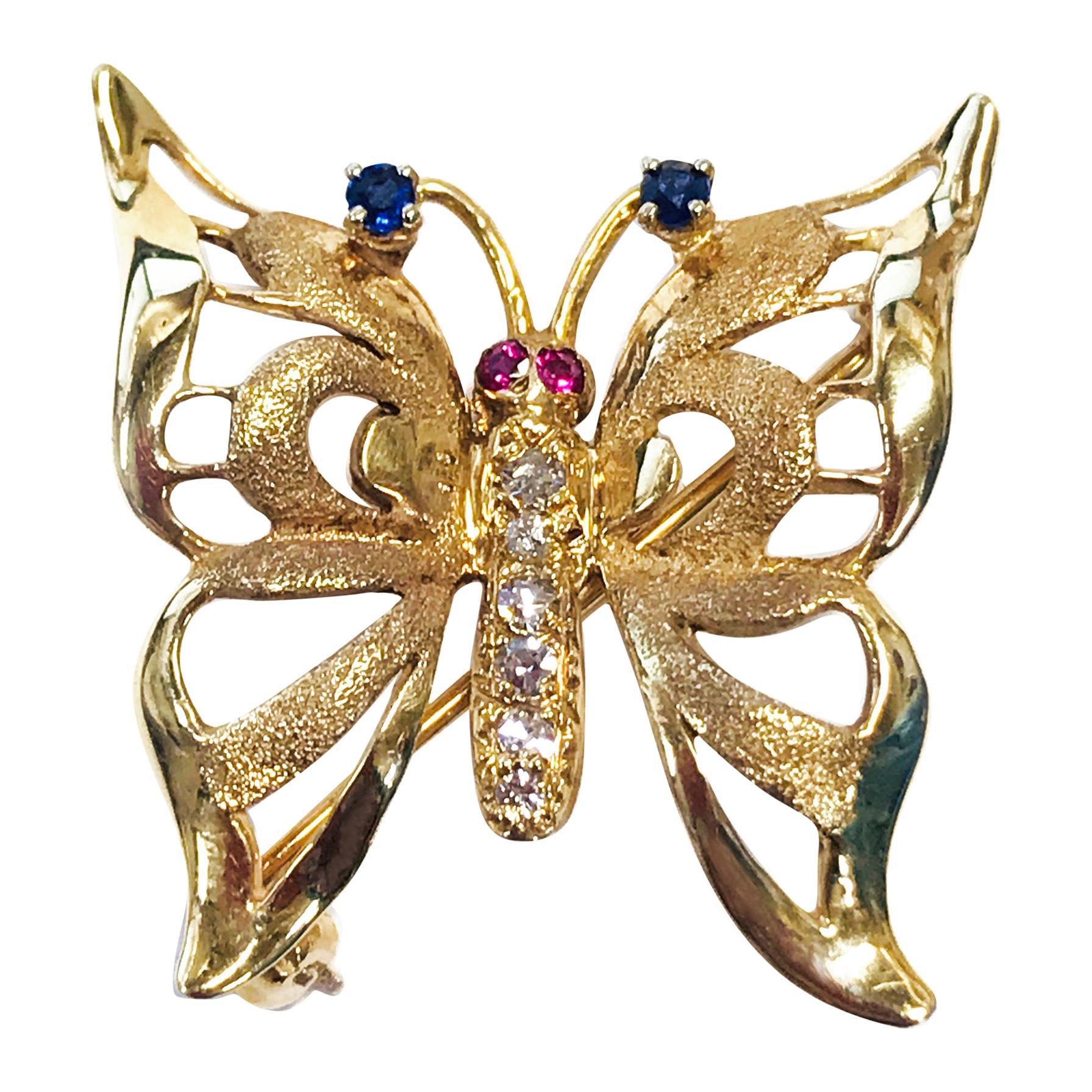 Diamond Ruby Sapphire Butterfly Brooch/Pin