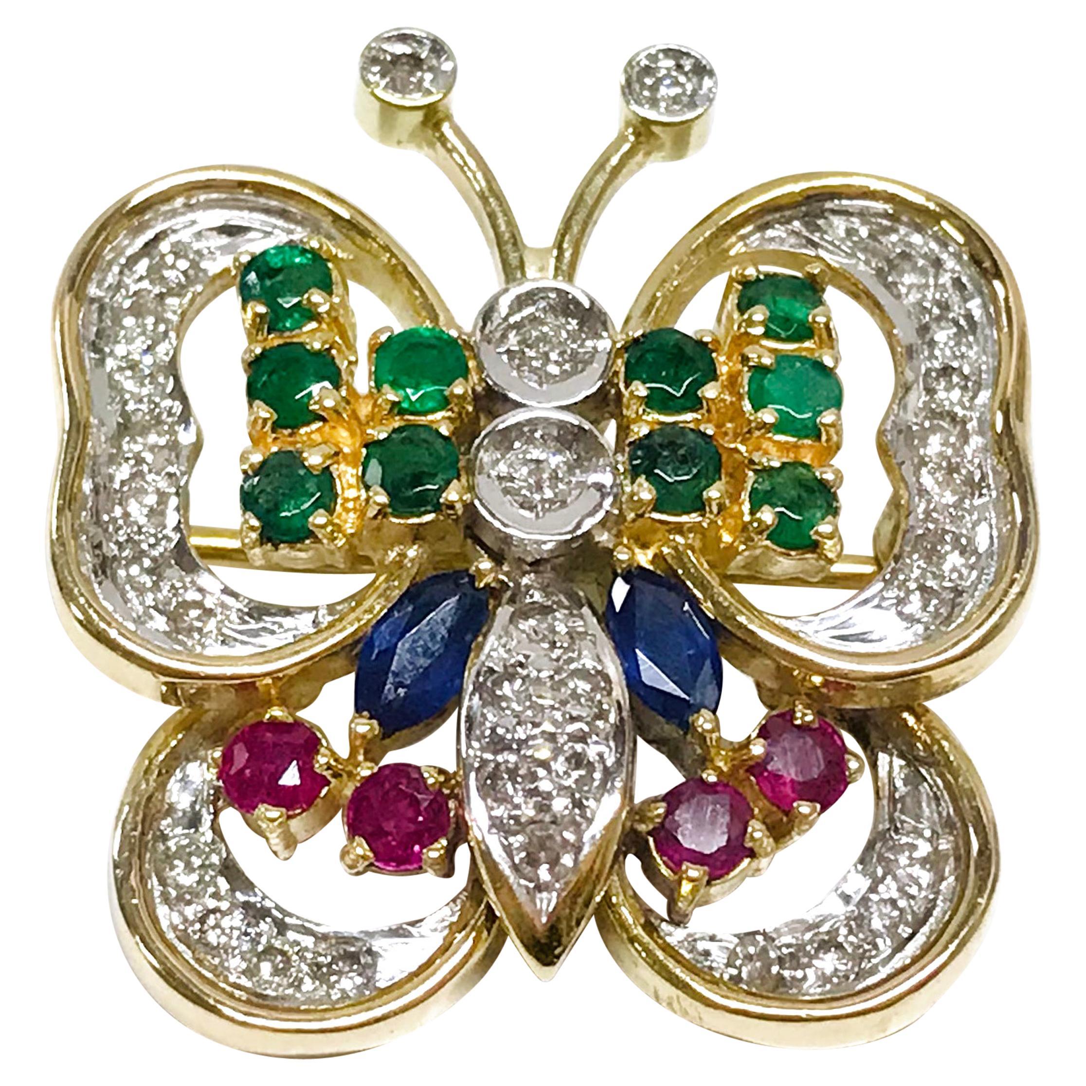 Diamond Ruby Sapphire Emerald Butterfly Brooch/Pin