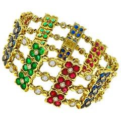 Diamond Ruby Sapphire Emerald Gold Bracelet
