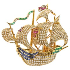 Diamond Ruby Sapphire Emerald Gold Sailing Ship Brooch Pin