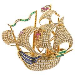 Diamond Ruby Sapphire Emerald Gold Sailing Ship Brooch Pin