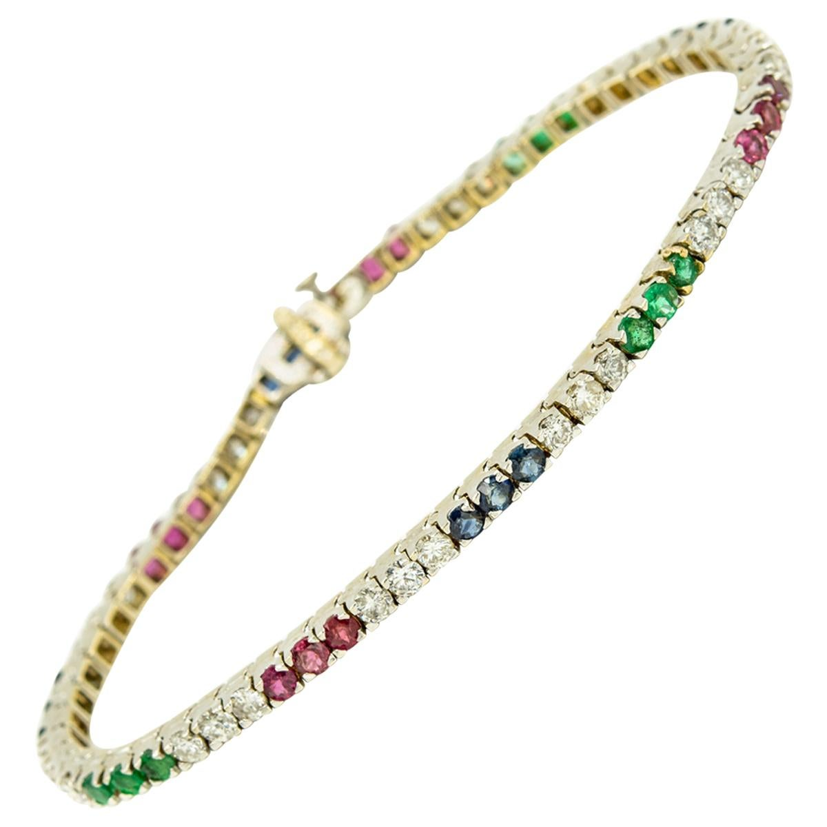 Diamond Ruby Sapphire Emerald White Gold Tennis Line Bracelet