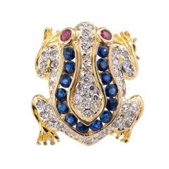 Diamond Ruby Sapphire Gold Frog Pendant Brooch