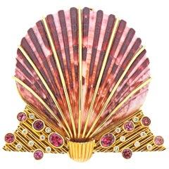 Diamond Ruby Shell Gold Brooch Pin