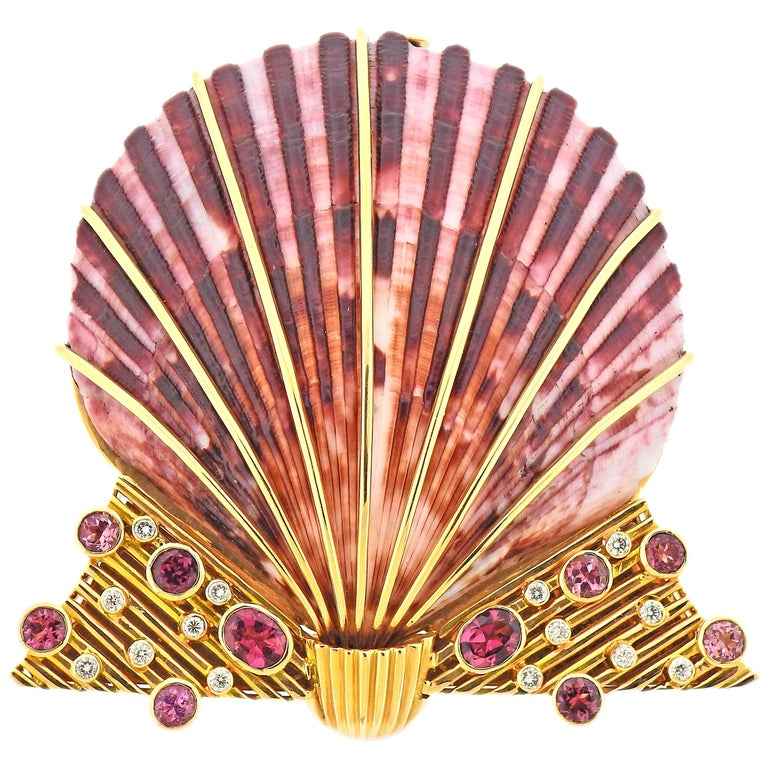 Diamond Ruby Shell Gold Brooch Pin For Sale