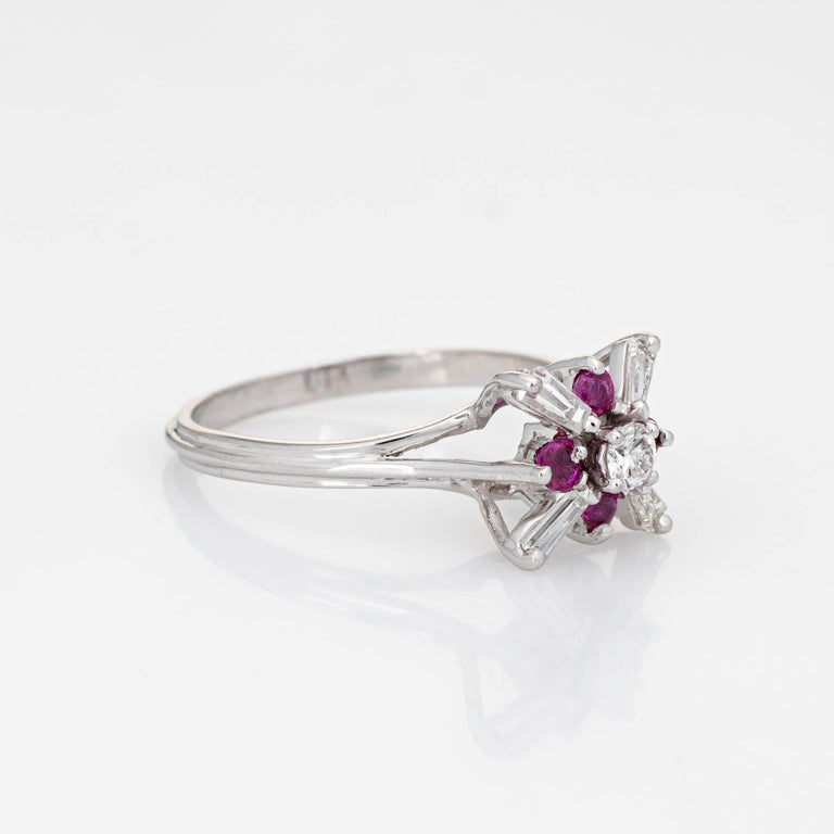Modern Diamond Ruby Star Ring Vintage 18 Karat White Gold Estate Fine Cocktail Jewelry For Sale