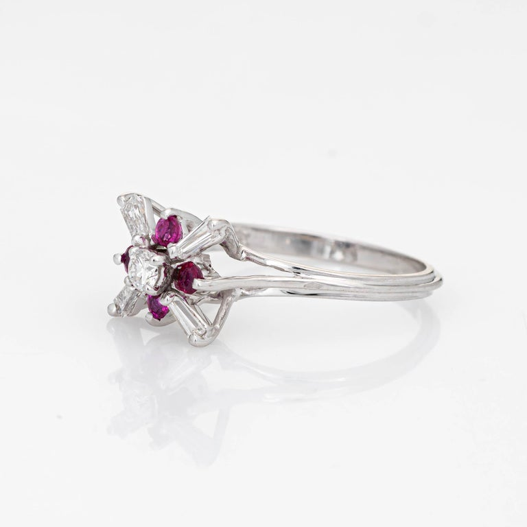 Round Cut Diamond Ruby Star Ring Vintage 18 Karat White Gold Estate Fine Cocktail Jewelry For Sale