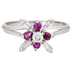 Diamond Ruby Star Ring Vintage 18 Karat White Gold Estate Fine Cocktail Jewelry