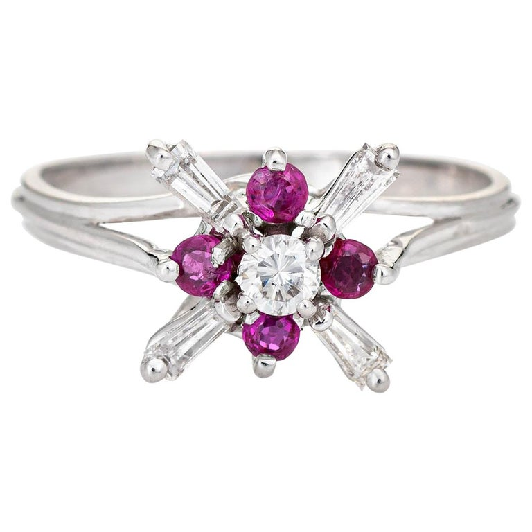 Diamond Ruby Star Ring Vintage 18 Karat White Gold Estate Fine Cocktail Jewelry For Sale