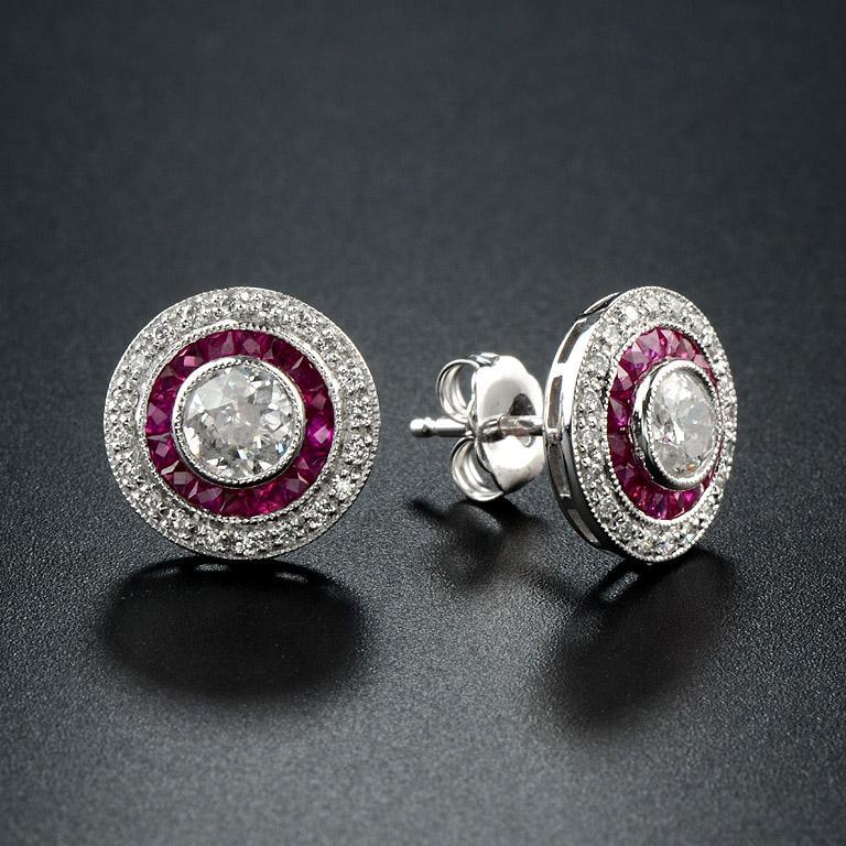 Art Deco Diamond Ruby Stud Earrings For Sale