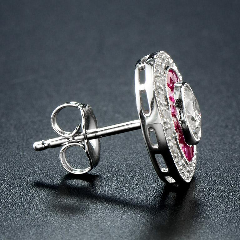 Round Cut Diamond Ruby Stud Earrings For Sale