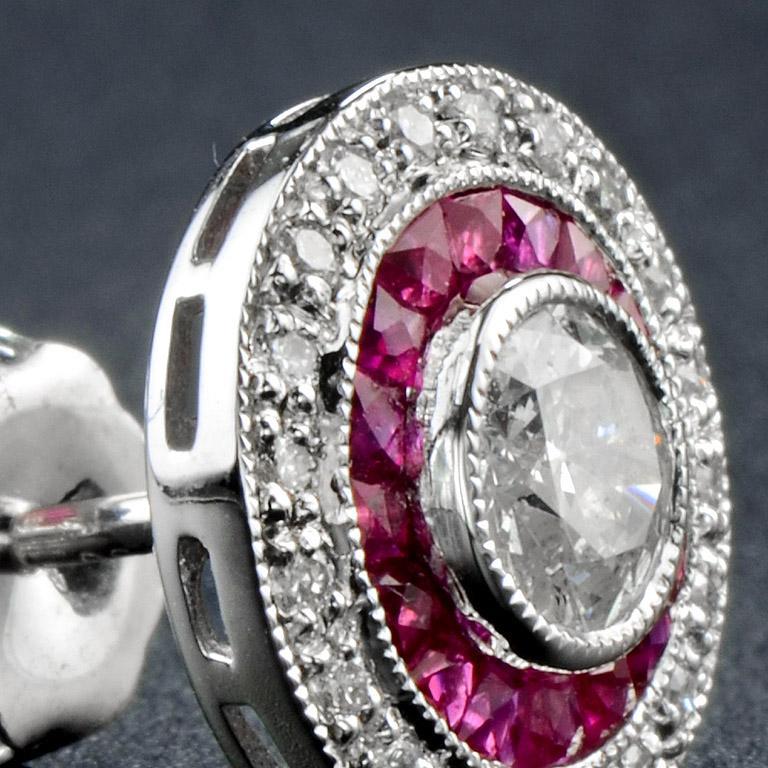 Women's Diamond Ruby Stud Earrings For Sale