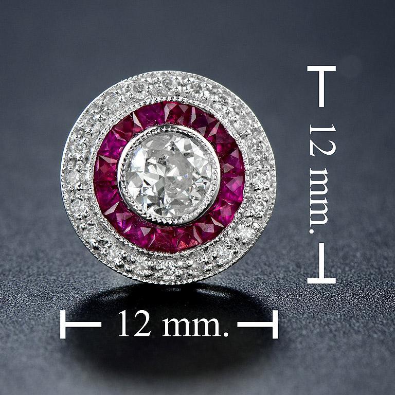Diamond Ruby Stud Earrings For Sale 1