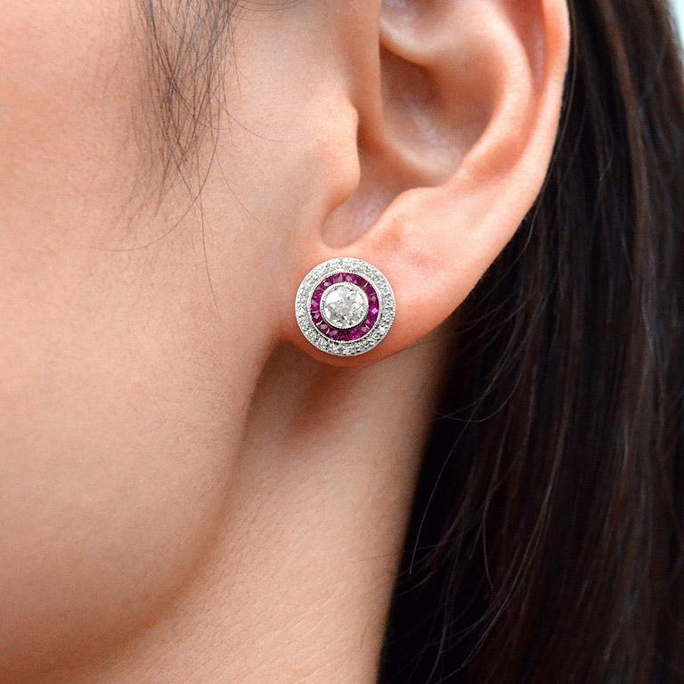 Diamond Ruby Stud Earrings For Sale 2