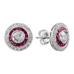 Diamond Ruby Stud Earrings