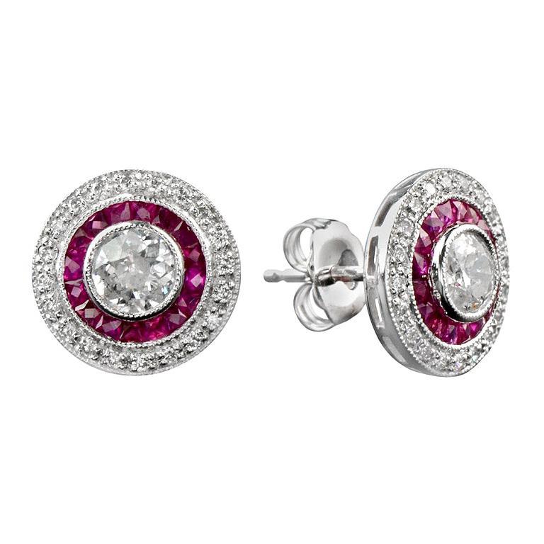Diamond Ruby Stud Earrings For Sale