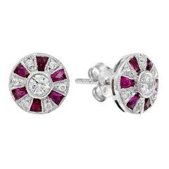 Diamond Ruby Stud Earrings