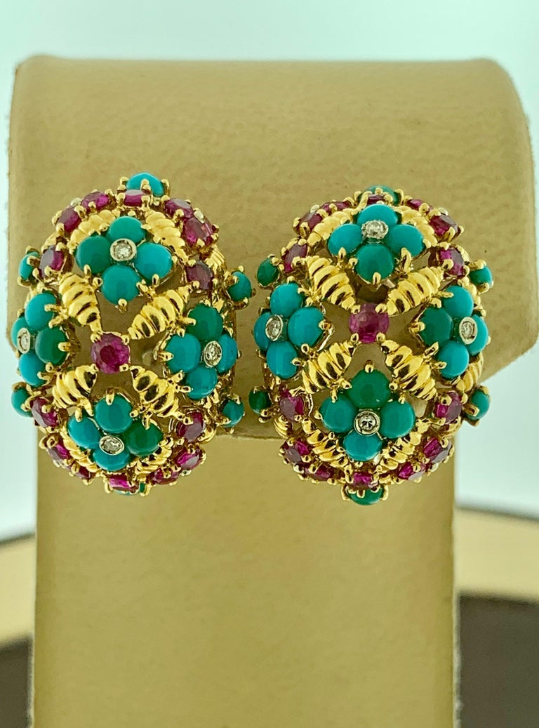 Round Cut Diamond Ruby and Turquoise Clip Earrings in 18 Karat Yellow Gold 17 Grams For Sale