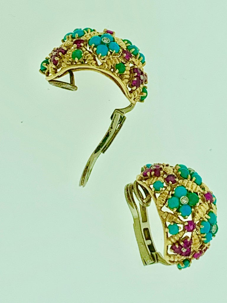 Women's Diamond Ruby and Turquoise Clip Earrings in 18 Karat Yellow Gold 17 Grams For Sale