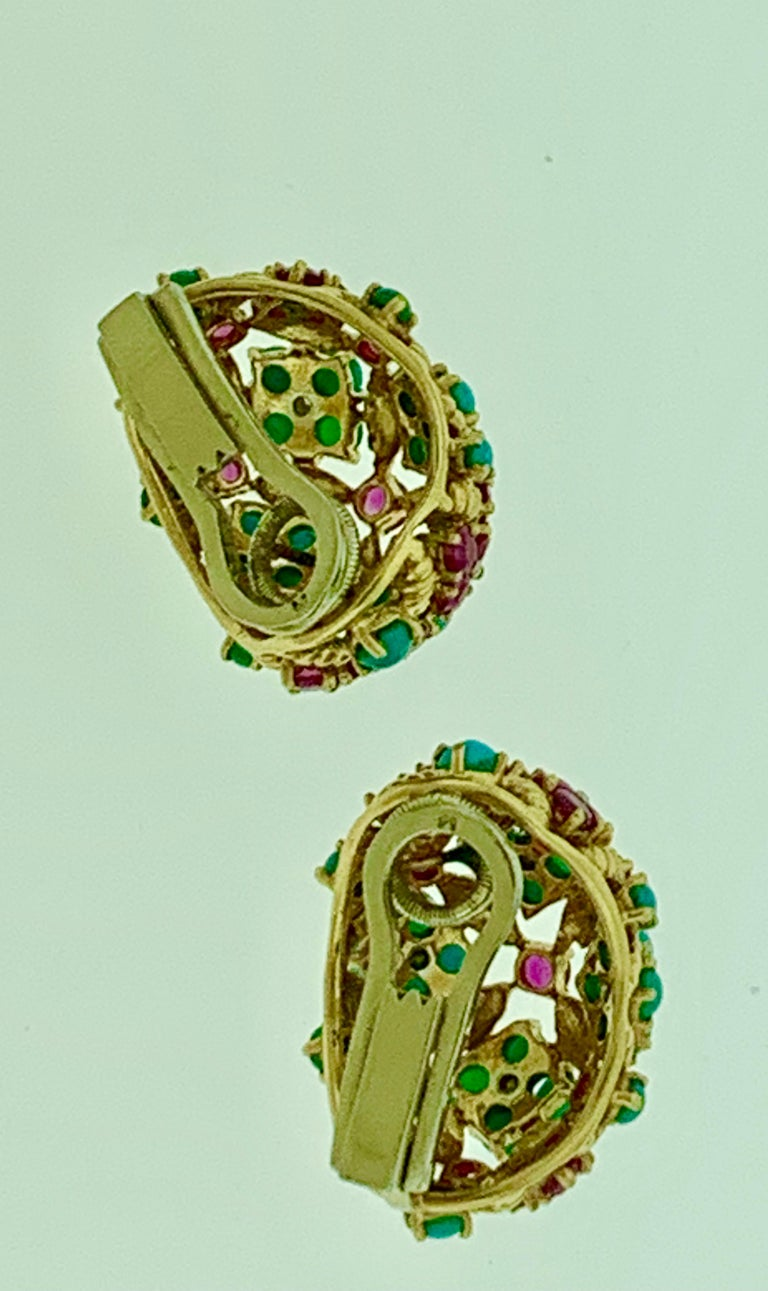 Diamond Ruby and Turquoise Clip Earrings in 18 Karat Yellow Gold 17 Grams For Sale 1
