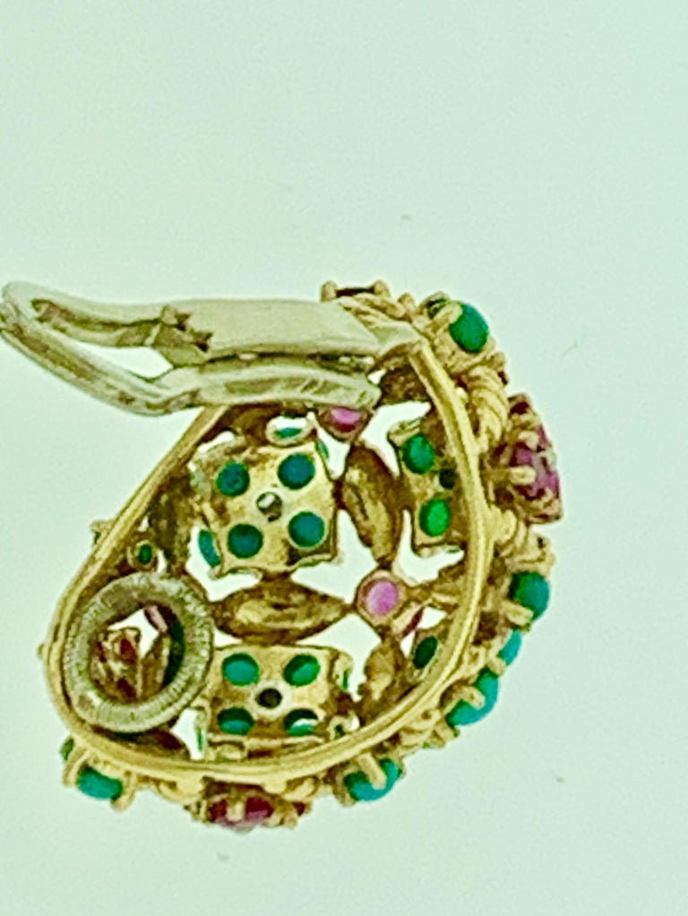 Diamond Ruby and Turquoise Clip Earrings in 18 Karat Yellow Gold 17 Grams For Sale 2