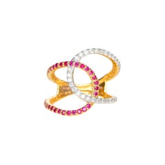 Diamond and Ruby Twisted Statement Ring in 14 Karat Yellow Gold