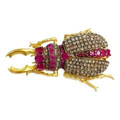 Diamond, Ruby Vermeil Silver Beetle Articulated Brooch-Pendant